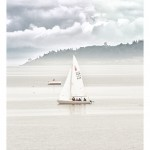 Sail boat in Foggy Equimalt Harbor - Victoria, BC