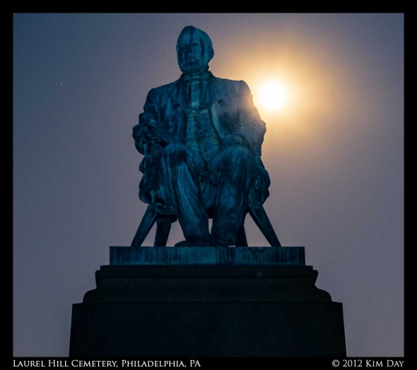 Full Moon Behind Statue