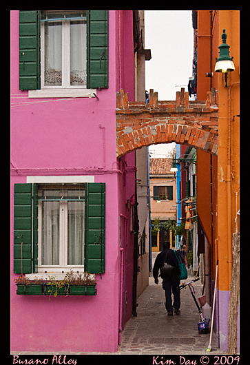 alley in burano, venice italy