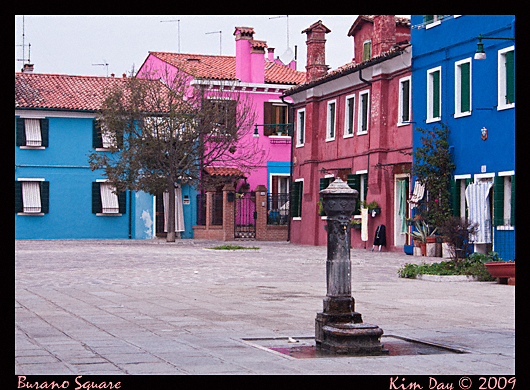 colorful burano square, venice italy