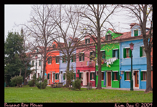 colorful burano row houses, venice italy